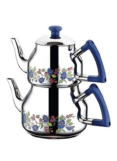 Özkent 314 Marmaris Desenli Mini Çaydanlık - Mavi Mavi